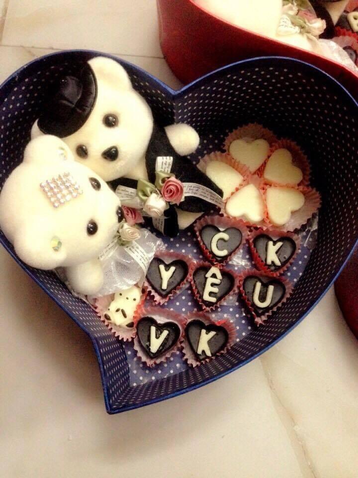Mẫu socola hình trái tim nhỏ xinh xinh
