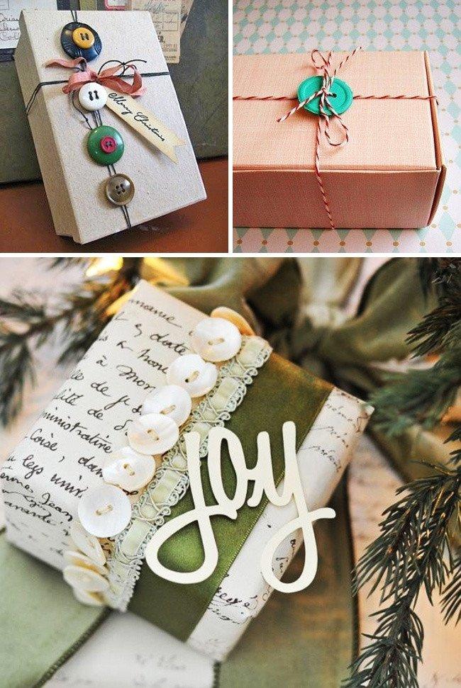 Trang trí hộp quà bằng cúc áo